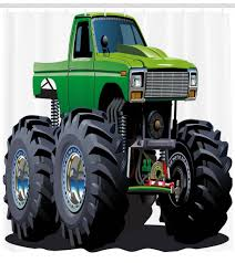 100 Biggest Monster Truck Cars Shower Curtain Giant Pickup With Large Tires And