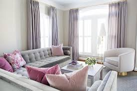gray and pink living room with purple curtains contemporary