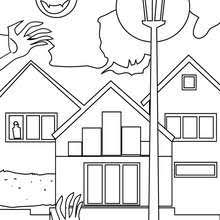 Old Haunted Hamlet And Graveyard House At Night Coloring Page