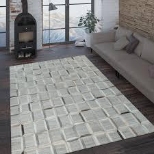 teppich leder wolle viereck grau schwarz