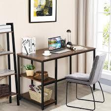 costway schreibtisch industrie design computertisch mit regal bürotisch pc tisch arbeitstisch fürs büro arbeitszimmer wohnzimmer 120x60x75cm