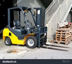 Electric Forklift Powered Industrial Truck Lifting Stock Photo (Edit ...