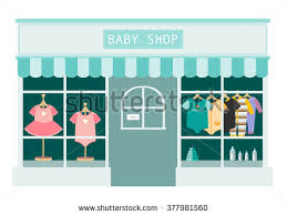 Children Clothes Shop Shops And Stores IconsVector Illustration