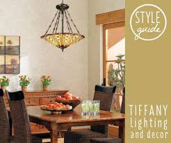 A Tiffany Style Chandelier Hangs Above Dining Room Table