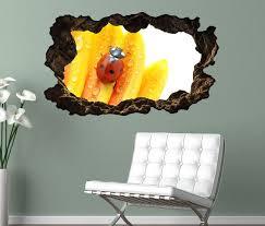 3d wandtattoo blume margerite blumen weiß gelb marienkäfer selbstklebend wohnzimmer wand aufkleber 11l045