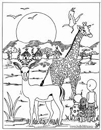 Giraffe And Antelope Coloring Page More Africain Animals Sheets On Hellokids