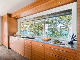 Horizontal Grained Teak Kitchen Cabinets For 60s Modern Beach House In British Columbia Frameless