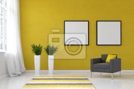 fototapete helles wohnzimmer mit gelber wand und stuhl