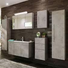 details zu badmöbel set 7teilig grau mit 100cm keramik waschtisch badezimmer spiegelschrank