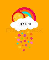 Positive Motivation Concept Motivational Poster Kids Cute Design Enjoy Life Enjoying Summer Vector Background With Rainbow Cloud Sun