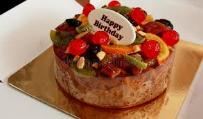 Download Fruit Cake For Your Happy Birthday Stock Image