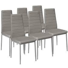 tectake 6 esszimmerstühle kunstleder grau