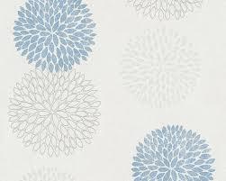 a s création tapete floral blau grau weiß 372642