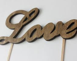 Sale WOOD LOVE Rustic Cake Topper Wooden By TheFulfilledShop