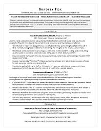 Sample Resume For A Health Information Technician