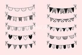 Black and white doodle bunting clipart Hand drawn birthday banner clip art by Pravokrugulnik