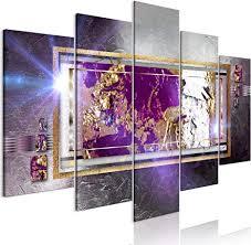 decomonkey bilder abstrakt 200x100 cm 5 teilig leinwandbilder bild auf leinwand wandbild kunstdruck wanddeko wand wohnzimmer wanddekoration deko grau