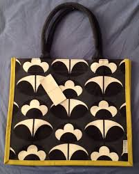 Orla Kiely Tesco Primrose Flower Yellow Black White Jute Eco Bag