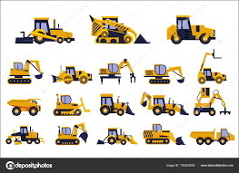 Different Types Of Construction Trucks Set, Heavy Equipment ...
