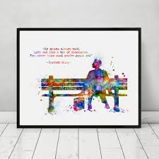 Forrest Gump Art Print Painting Inspirational Quotes Kids Room Wall Poster Watercolor