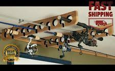 ceiling mount fishing horizontal pole rod reel wood holder wall