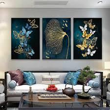 moderne minimalistischen poster blau gold schmetterling bild