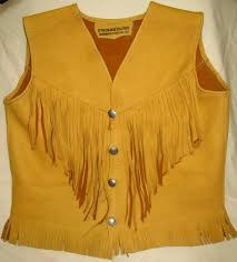 leather vest in gold deerskin hippie buckskin western