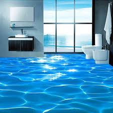 Custom Mural Wallpaper 3D Sea Wave Textured Bathroom PVC Self Adhesive Waterproof Floor Wall