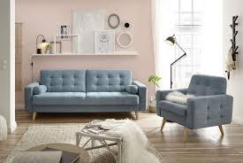 mit sessel fjord schlafcouch bettsofa schlafsofa sofabett zweisitzer umklappbar blau denim 222 cm