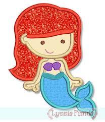 Cutie Princess as Little Mermaid Applique 4x4 5x7 6x10 Wel e