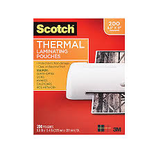 Scotch Thermal Laminating Pouches 8 12 x 11 Clear Pack 200 by