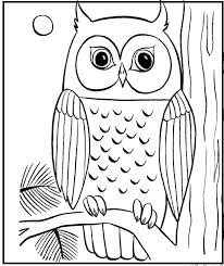 Owl Alighted The Big Tree Coloring Pages For Kids Printable Owls