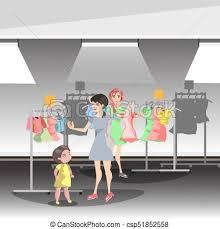 Womans In Shop Buy Clothes Vector