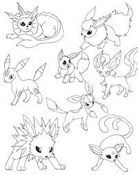 Eevee Coloring Pages Pokemon Evolutions Together Printable For