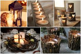 Top Row L R Candlelit Lantern Rustic Candle Holder Birch Heart Holders Bottom Nest Table Setting Twigs