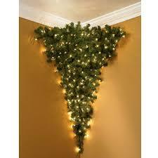 Upside Down Corner Pre Lit Christmas Tree