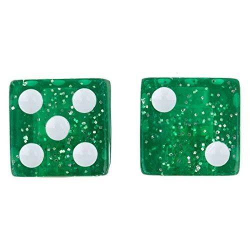 Trick Top Dice Bicycle Valve Caps - Glitter Green