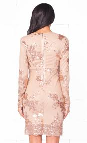 indie xo glowing nights beige gold sequin floral long sleeve
