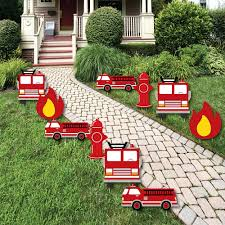 100 Fire Truck Birthday Party D Up Lawn Decorations Outdoor Fighter Truck Baby Shower Or Yard Decorations 10 Piece