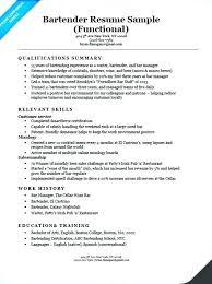 Functional Resume Samples Bartender Sample Template Example Pdf