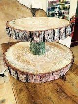 Used Two Tiered Rustic Wooden Wedding Cake Cup Stand Centre Piece