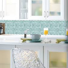 blue mosaic sticktiles peel stick backsplash roommates