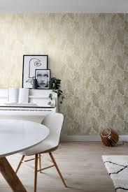 wohnzimmer tapete gezeichnete blätter weiß und gold 139125