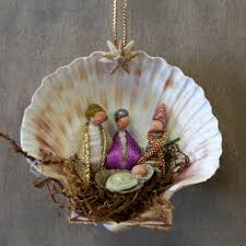 Seashell Christmas Tree Ornaments by Three Wise Men Shell Manger Scene Christmas Nativity Scene And