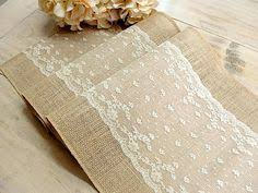Burlap Table Runner With Dusty Hay Country Lace Wedding Linens Rustic Vintage Overlays Handmade In The USA