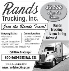 Company Drivers/Owner Operators - Medfor, Rands Trucking, Inc ... Chicago Suburb Trucking Jobs Kemco Inc Elk Grove 2015 Freightliner M2 112 Bolt Custom Sleeper Truck Tour Youtube Driver Team Bonus Bolsters Covenants Recruiting Efforts Transport Driving Up To 300 Signon Drive Dillon Transportation Llc Cdl Employment Opportunities Barrnunn Americas Road 72018 American Do You Need A Dz Lince For In Ontario Drivejbhuntcom Company And Ipdent Contractor Job Search At Tg Stegall Co The Realities Of
