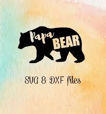 Papa Bear SVG File Silhouette Dxf Cricut