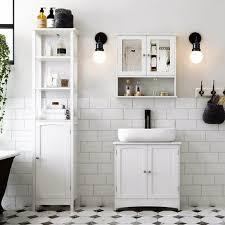 vasagle waschbeckenunterschrank unterschrank badezimmerschrank viel stauraum 2 türen mit verstellbarer einlegeboden weiß 60 x 60 x 30cm by songmics