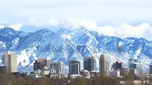 The Salt Lake City Skyline With Wasatch Mountains In Background