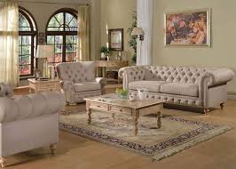 Von Furniture Shantoria Formal Living Room Set In Beige Intended